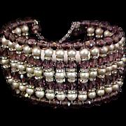 """SALE Vintage Memory Bracelet Brown """"Root Beer"""" Beads Faux Pearls Rhinestones 1950s"""