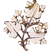 SOLD Coro Brooch 1940s Milk Glass Enamel Designer Signed Vintage