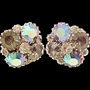Dazzling Weiss Earrings Rhinestone Smoky Aurora Borealis Signed Vintage Designer Jewelry
