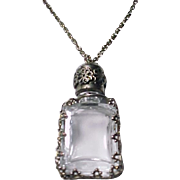 SALE Glass and Silver Perfume Bottle Pendant Necklace Vintage