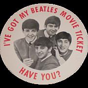 SOLD Original Beatles Movie Badge