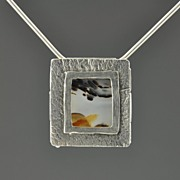 Picture window onto Saturn - Fine Silver and Agate