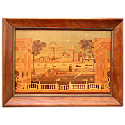 Marquetry Picture of 18th Century Rural Scene