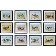 Set of 12 Bullfight Prints - hand colored 19thC. engravings