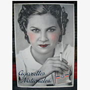 1930's French Cigarette Advertising showcard