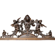 SOLD Armorial Overdoor with Angel Carvings.