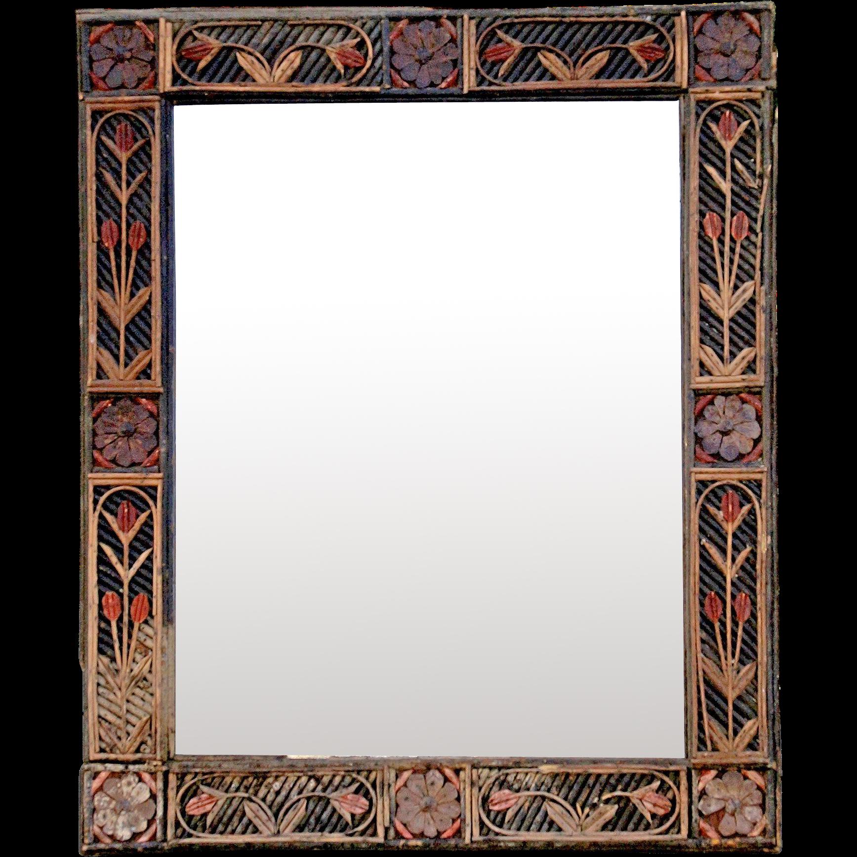 'Tramp Art' Framed Mirror from France