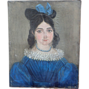 Naive Painting of Young Girl , from France