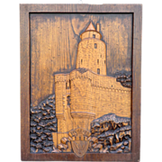 Vintage Carved Wooden Panel with French Chateau.