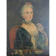 SOLD Oil Painting of French woman with flowers.