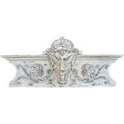 Carved wood Overdoor Pediment with Gargoyle .
