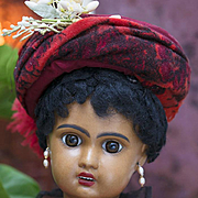 """21"""" (53 cm) Antique French Brown-Complexioned Bisque Bebe by Jumeau with Original Costume"""