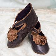 Antique French Original leather pair Bebe Jumeau Depose Shoes, rare large size 12