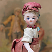 "4 1/2"" (11,5 cm) Superb Antique French All Original All Bisque  Blue-Eyed Mignonette"