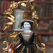 "12 1/2"" (32 cm) Rare Antique German All Original Porcelain Fortune -Telling Doll for the"