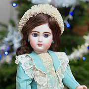 """18"""" (46 cm) Very Lovely Antique Beautiful French Bisque Open Mouth Bebe Jumeau doll size 7 with beautiful dress and bonnet!"""