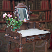 """19"""" (48 cm) tall Antique French Wooden Toilette Table with Marble Top & Basket  for fashion or bebe doll"""