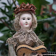 """14"""" (35 cm) Rare French All Original Musical Mechanical doll automaton  """"Lady with M"""