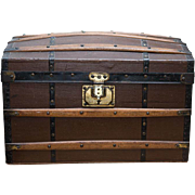 "SOLD 16 1/4"" Antique French Wooden Trunk  with lift-out Tray and Paris Store label for fa"