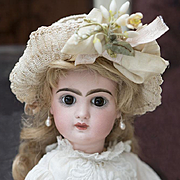 14in Antique French Jumeau bebe Depose closed mouth brown eyes  size 5, c.1880
