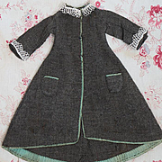 Antique Original French Woolen dress  with bellow pockets for tiny fashion doll Huret Rohmer J