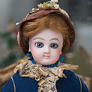 """14"""" (36 cm.) Antique French Fashion Wide-Eyed Doll by Jumeau with Signed Jumeau Body, ori"""