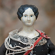 "11"" (28 cm.)  Rare Antique French Papier Mache Doll  in Original Zouave Vivandiere Costum"