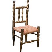 Antique French Original Wooden  French Doll Chair, c.1870