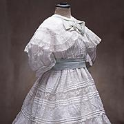 SALE PENDING Antique French Original White Batiste Embroidered Dress & Slip for Jumeau Steiner