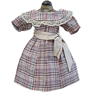 "SOLD Antique Original Checkered  Dress for French or German doll 16-17"", c.1900"