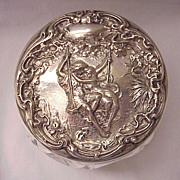 "F & B ""Paul and Virginia"" Sterling and Cut Glass Dresser Jar - Circa 1905"