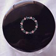 SALE American Sterling Enamel Floral Cut Glass Dresser Jar