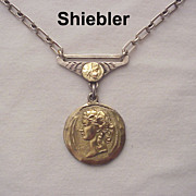 Shiebler Sterling and 14Kt. Gold Medallion Watch Fob Necklace