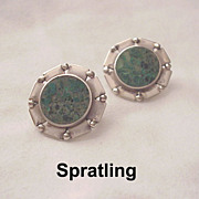 William Spratling Turquoise & Sterling Earrings - 1951-56 Mark
