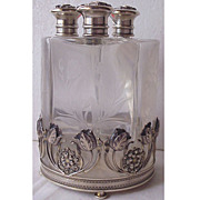 SALE Stunning Art Nouveau Sterling & Floral Glass 3 Perfume Bottle Decanter