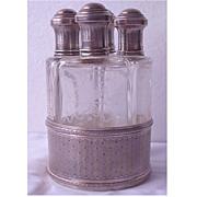 SALE Sterling & Etched Glass 4 Bottle Perfume Decanter Set