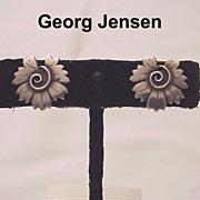 Georg Jensen Sterling Screw Back Earrings # 102 - Circa 1960