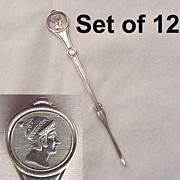 SALE Set of 12 Reed & Barton Medallion Silver Plated Nut Picks - Circa 1880