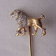 14kt. Gold with Platinum Accent Poodle Stick Pin - Circa 1910