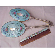 Saart Bros. Co. Sterling & Enamel Mirror, Brush & Comb Set