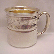 Sterling Baby Cup with Animal and Toy Border - Circa 1940