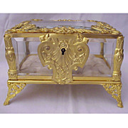 SALE Beautiful Ornate Dore Bronze & Beveled Glass Jewel Casket