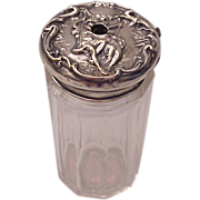 F & B Sterling & Glass Tooth Powder Jar of Paul & Virginia (Lovers on the Swing) - Circa 1905
