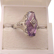 14kt. White Gold, Amethyst Filigree Ring with Diamond Accent - Circa 1925