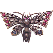 14Kt. Rose Gold, Silver, Diamond, Ruby, Sapphire and Cultured Pearl Butterfly Pin - Circa 1890