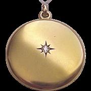 Victorian 12 Kt. Yellow Gold Locket with Diamond Accent - Circa 1890