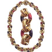 European 18kt. Yellow Gold Chain Link Necklace with Indigo and Red Enamel Accents - Circa 1980