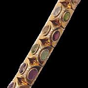 14Kt. Yellow Gold Bracelet with Semi Precious Gems and Diamond Accent - Circa 1990