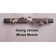 Georg Jensen Mixed Metal Bar Pin Circa 1933/43