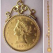 Fabulous 14kt., 10kt. Gold Medallion & US $10.00 Liberty Gold Piece Man's Watch Chain